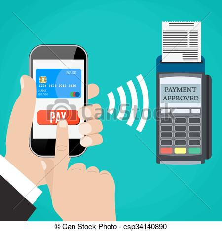 EPS Vectors of Pos terminal confirms the payment by smartphone.