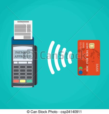 Vector Clip Art of Pos terminal confirms the payment by debit card.