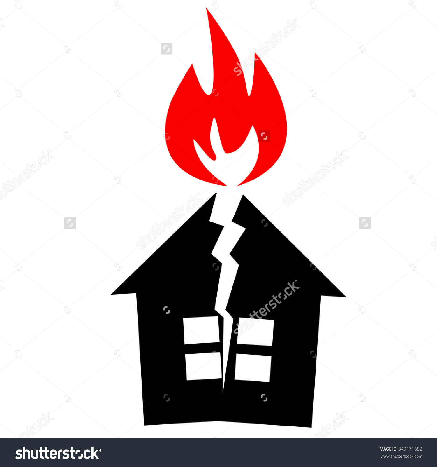 Black Silhouette House Red Flame Like Stock Vector 349171682.
