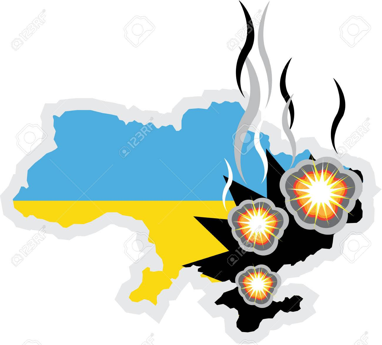 Ukraine conflict vector illustration clip.