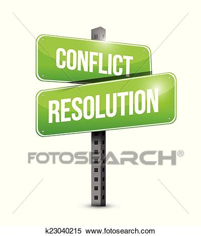 Conflict resolution street sign illustration Clipart.