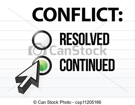 Clip Art Vector of conflict continues question and answer.