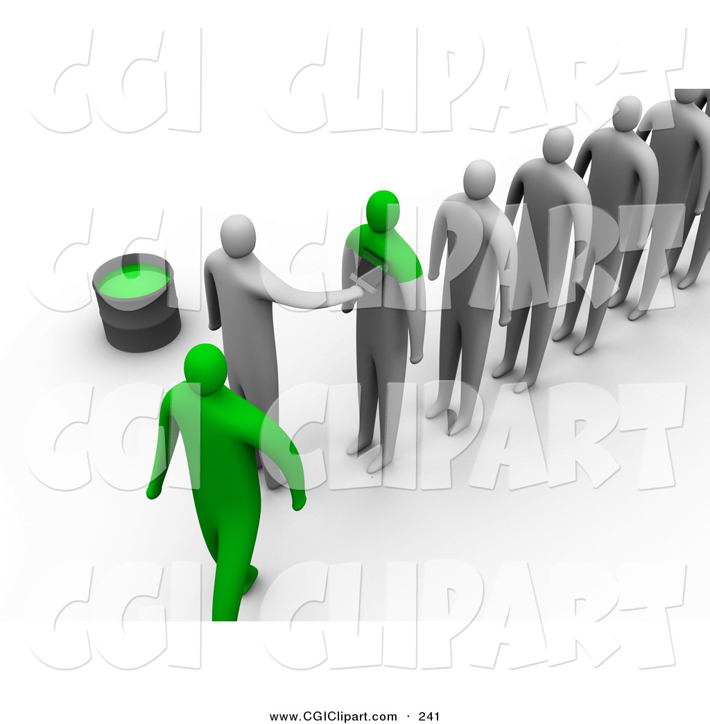 Clip Art of a Line of 3d People Being Painted Green to Become the.
