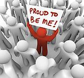 Clip Art of Proud to Be Me Unique Different Person Holding Sign in.