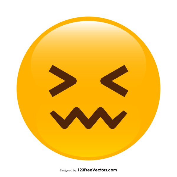 Confounded Face Emoji Vector Download.