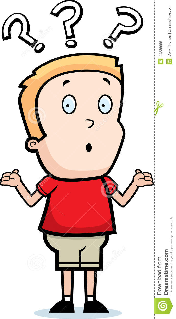 Puzzled student clipart.