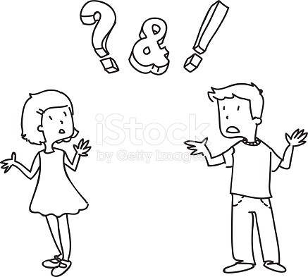 Girl And Boy Confused Not Knowing The Answer stock vector art.