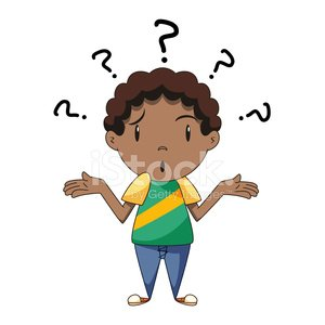 Confused boy, shrugging shoulders Clipart Image.