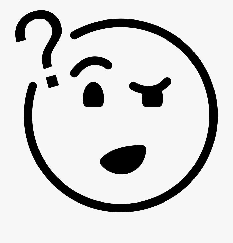 Confused Face Clipart Black And White , Transparent Cartoon.