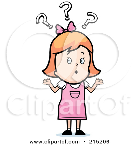 Cartoon Clipart Of A Black And White Confused Girl Shrugging Under.