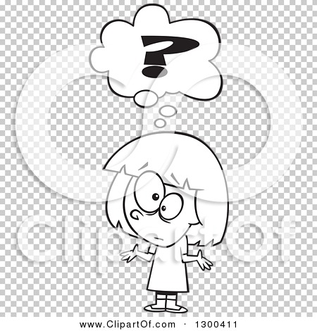Lineart Clipart of a Cartoon Black and White Confused Girl.