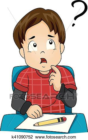 Kid Boy Class Confused Clipart.