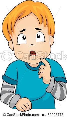 Kid Boy Thinking Gesture.