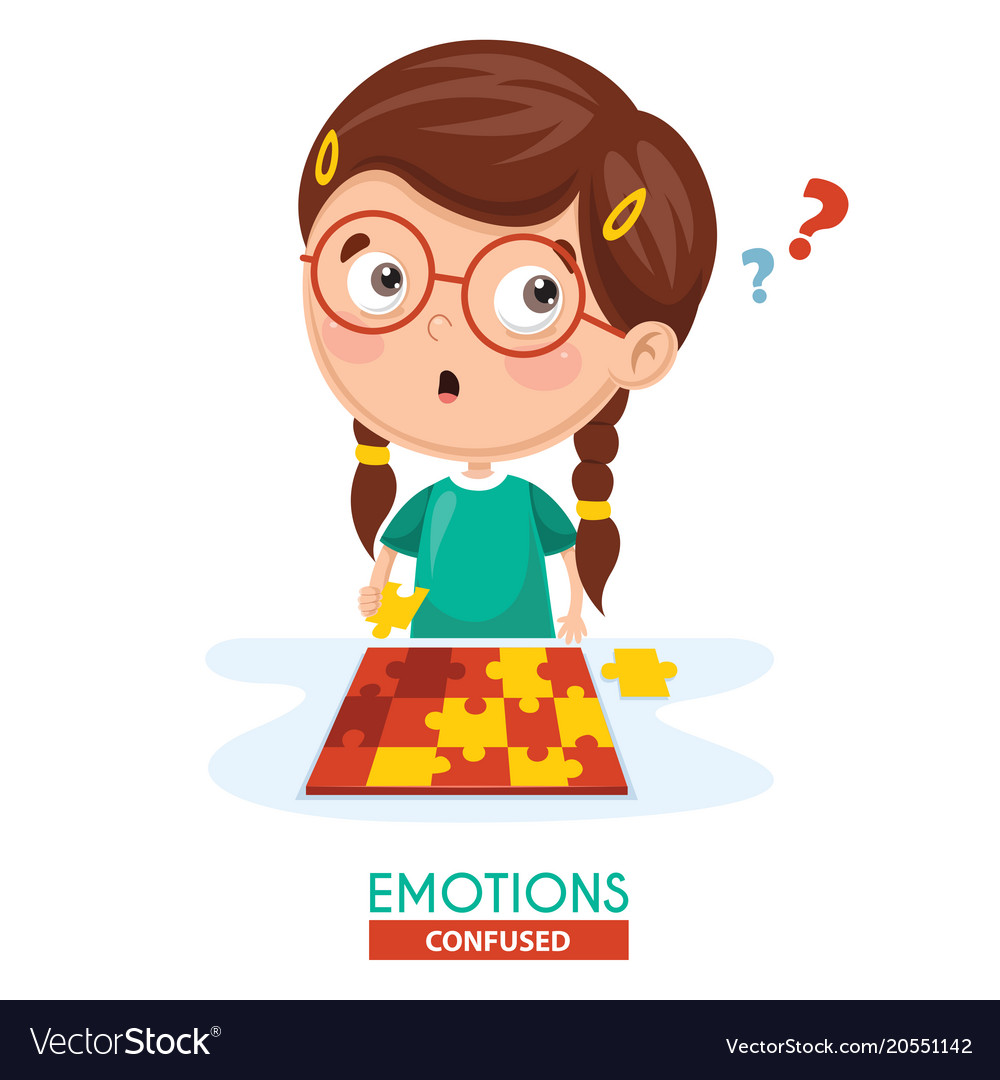 Confused kid emotion vector image.