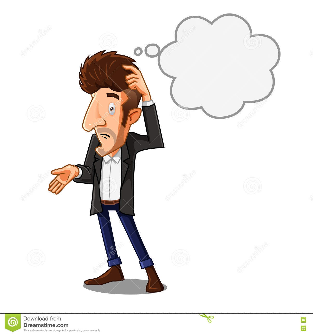 Confused Man stock vector. Illustration of person, scratching.