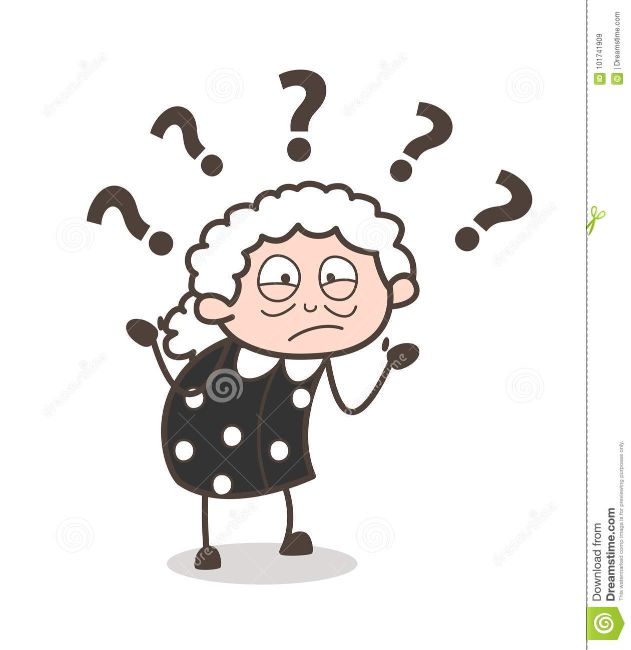 Cartoon Confused Old Woman Expression Vector Illustration Stock.