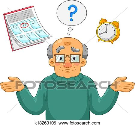 Confused old man Clipart.