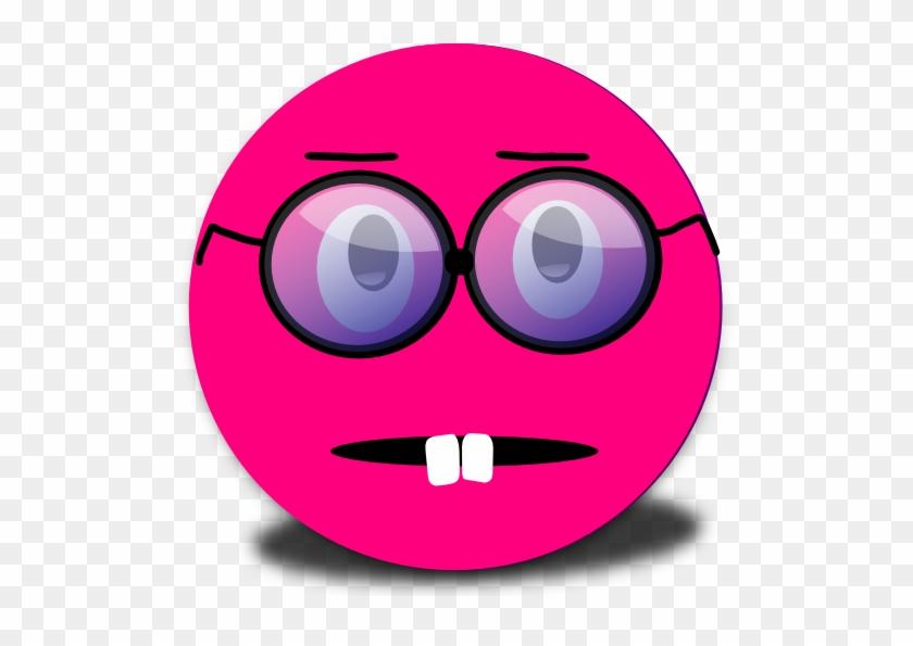 Surprised Smiley Pink Emoticon Clipart.