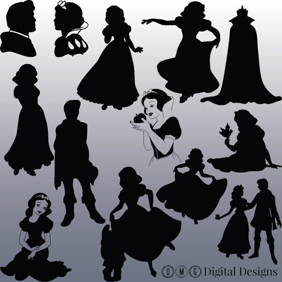 12 Snow White Silhouette Clipart Images, Clipart Design Elements.