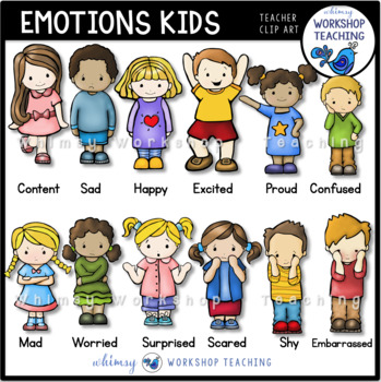 Emotions Kids Clip Art Set.