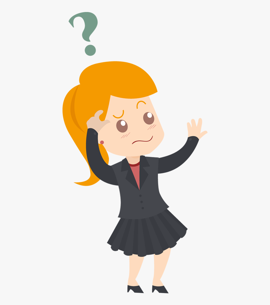 Confused Business Woman Cartoon.