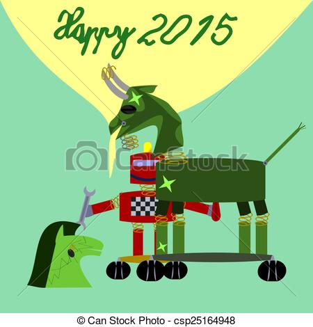 Drawing of Green goat robot New Year 2015 congrats card.