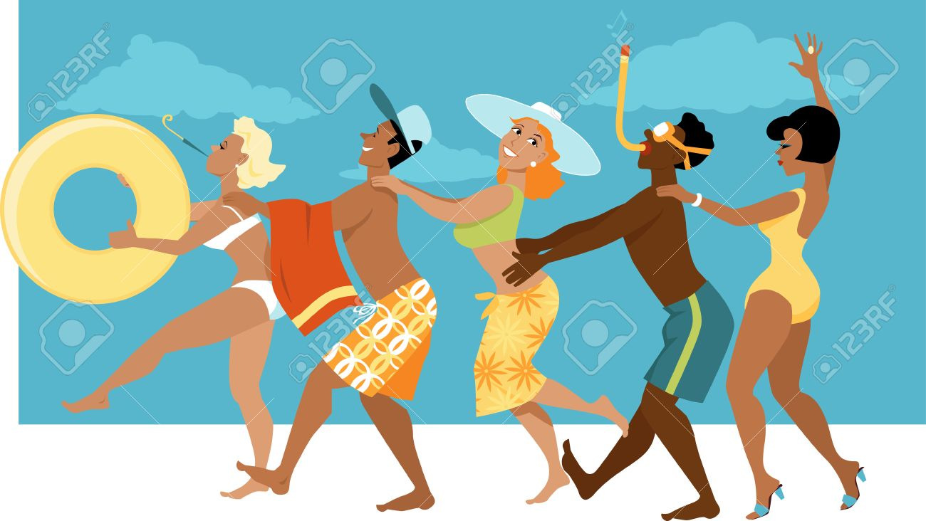 Diverse group of people in swimsuits dancing a conga line on...