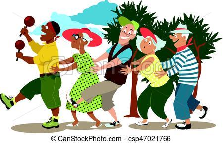Seniors dancing conga.