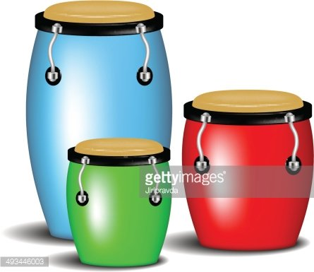 Multicoloured congas music band Clipart Image.