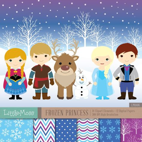 Snow Princess Digital Clipart and Papers, Frozen Clipart.