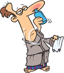 Colorful Cartoon of a Man with a Cold Using Nasal Spray.