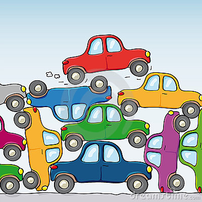 Traffic Jam Cars Stock Illustrations.