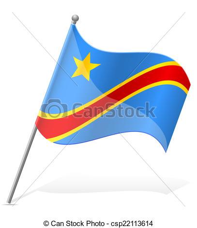Vector Clip Art of flag of Democratic Republic of Congo vector.