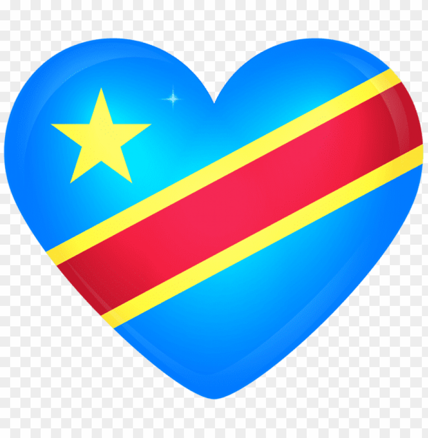 Download democratic republic of the congo large heart flag.