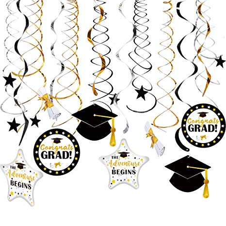 Graduation Hanging Decorations Swirls Kit for Congrats Class of 2019 Gold  Black Silver Swirls with Celebration Card Ceiling and Door Academic Cap  Star.