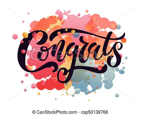 Hand sketched Congratulations lettering typography. Hand sketched  inspirational quote 'Congrats'..