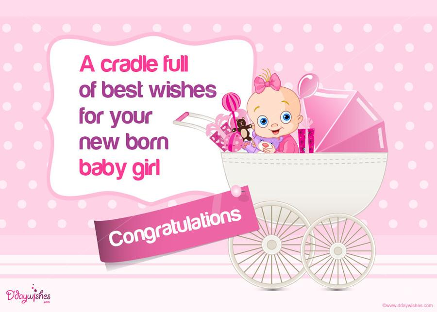Free Best Wishes E Card on Birth of Baby Girl.