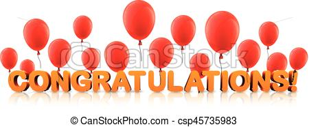 Congratulations banner with red balloons..