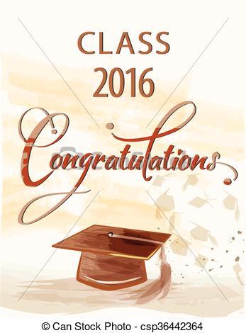 Clip Art Vector of Congratulations text with class 2016.
