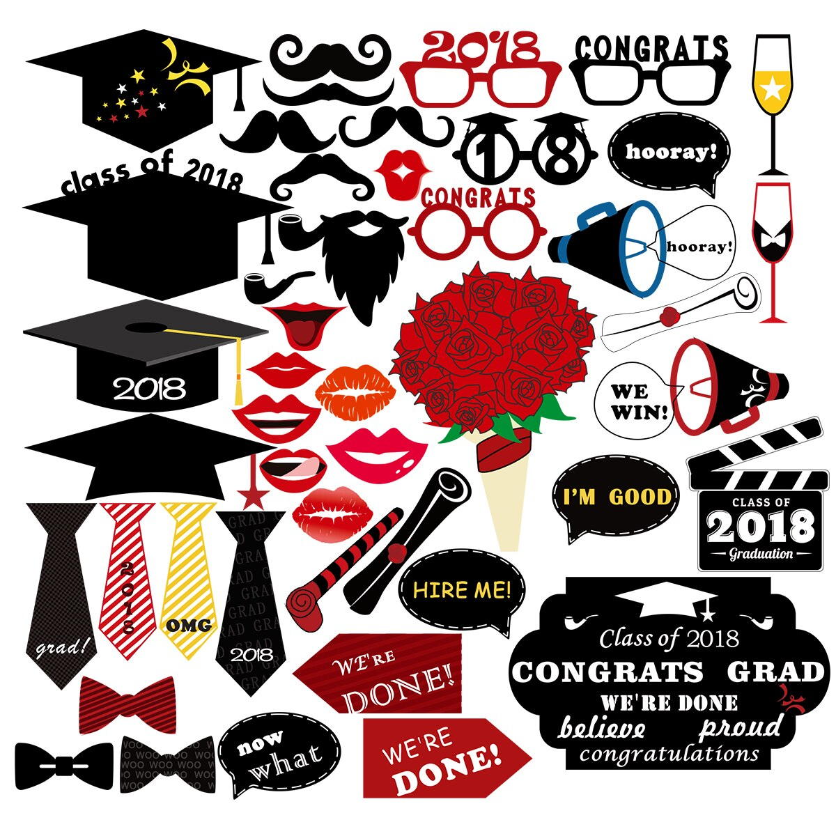 47PCS Class Of 2018 Graduation Party Photo Booth Props Kit Glitter Photo  Props For Graduation Party Decoration Favors.