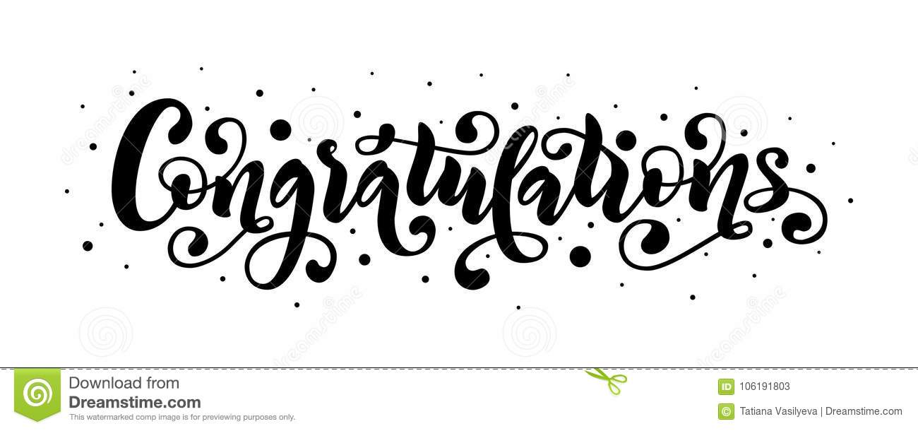 Congratulations Hand Lettering Quote. Hand Drawn Modern Stock Vector.