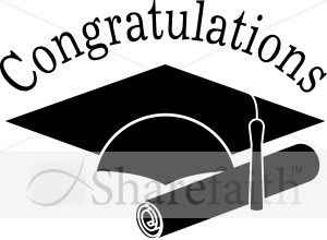 Congratulations Grads Black and White Clip art.