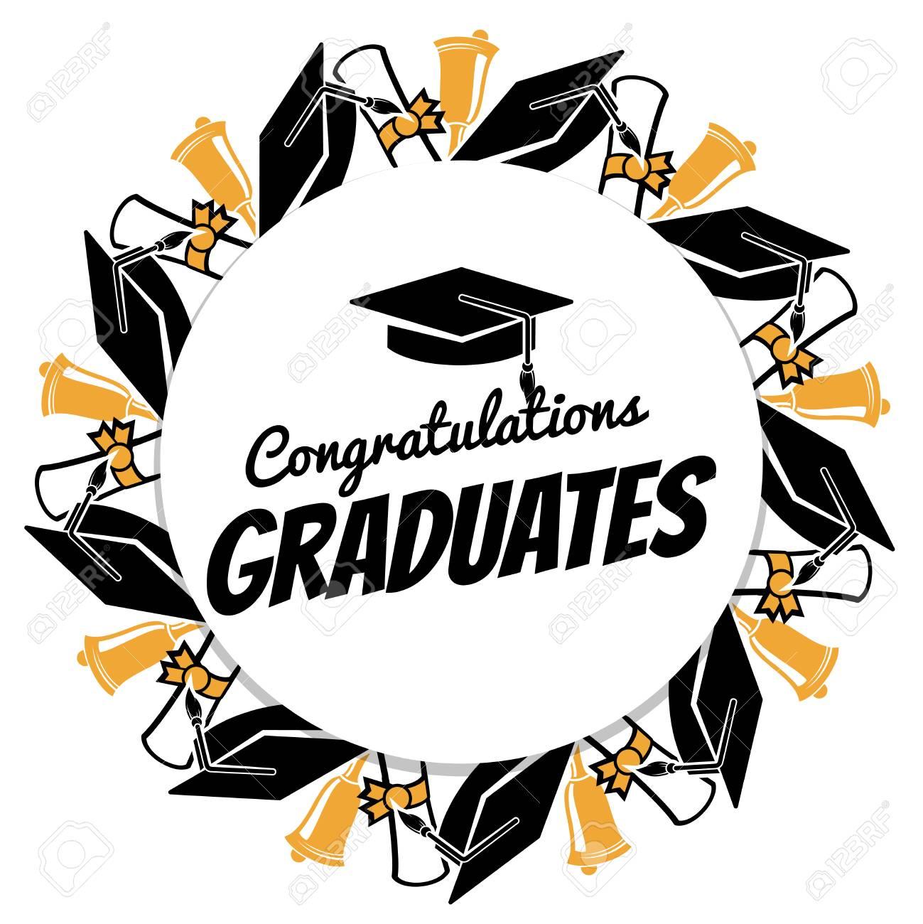 Congratulations graduates typographic round banner with graduation...