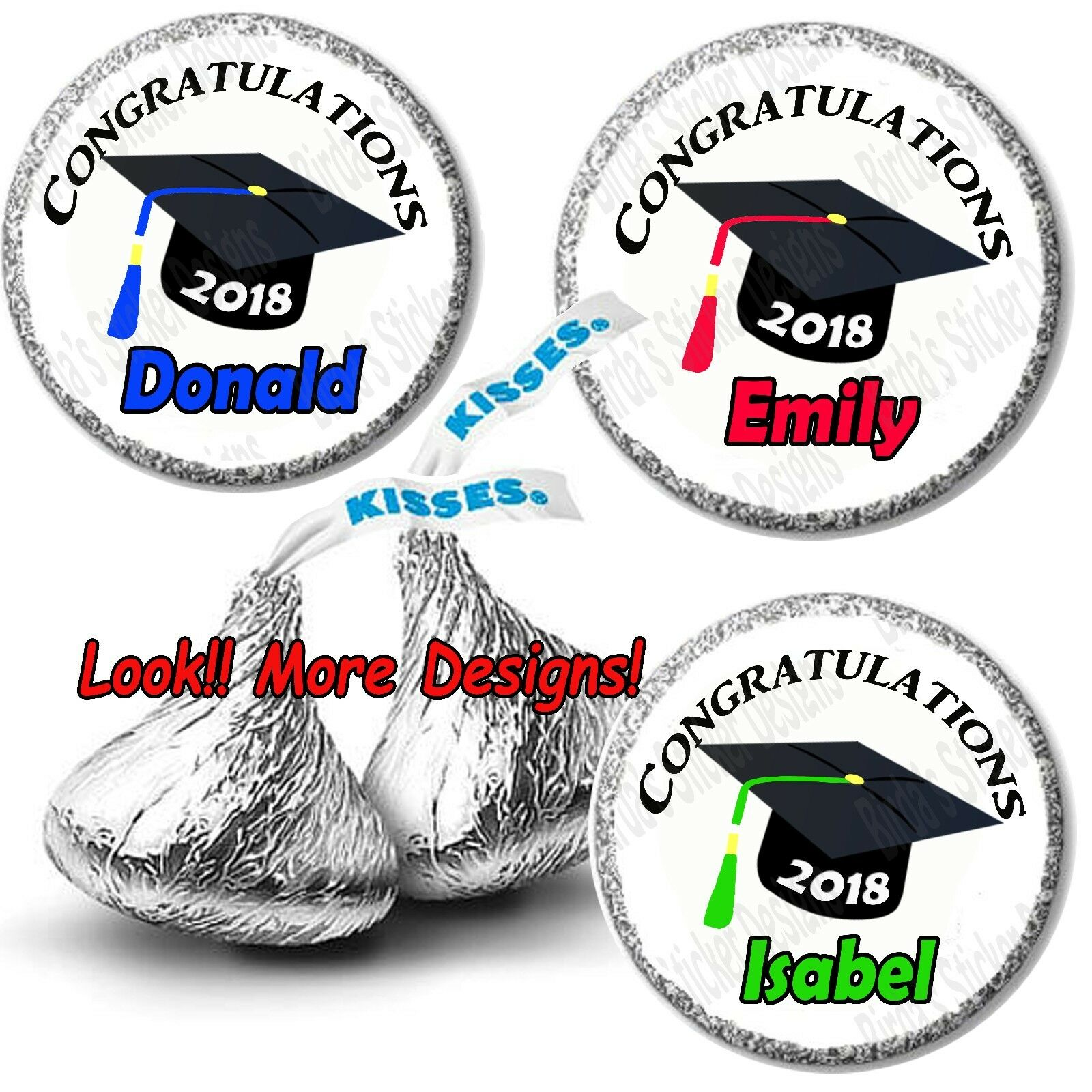 108 Hershey Kiss Stickers Labels Congratulations 2019 Graduation  Personalized.