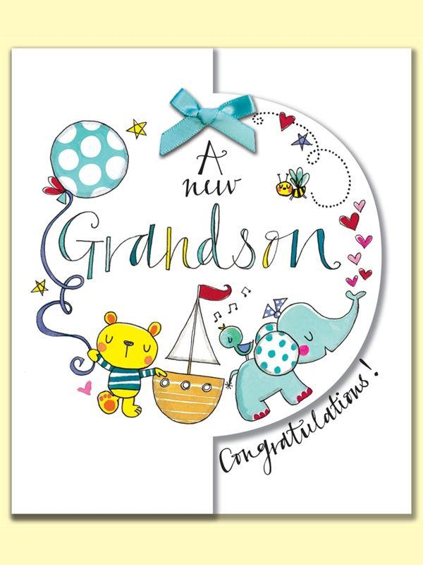 A new Grandson Congratulations. Greeting Card by Rachel Ellen.