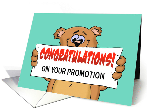 Promotion Congratulations Card with a Cute Bear Holding a Banner card.