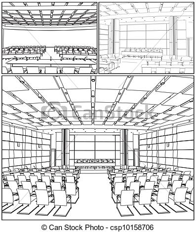 Vector Clipart of Conference Hall Interior Vector csp10158706.