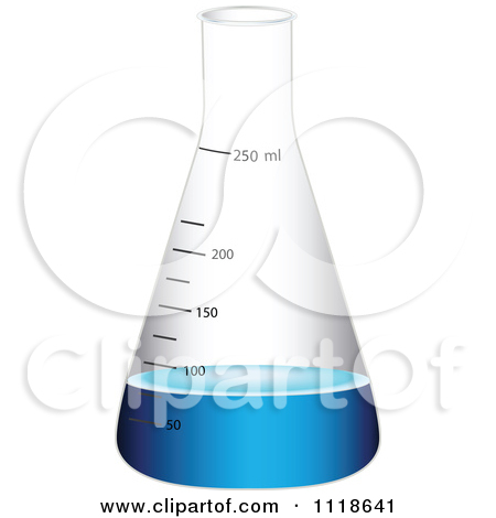 Vector Clipart Of A Scientific Conical Flask With Blue Liquid.