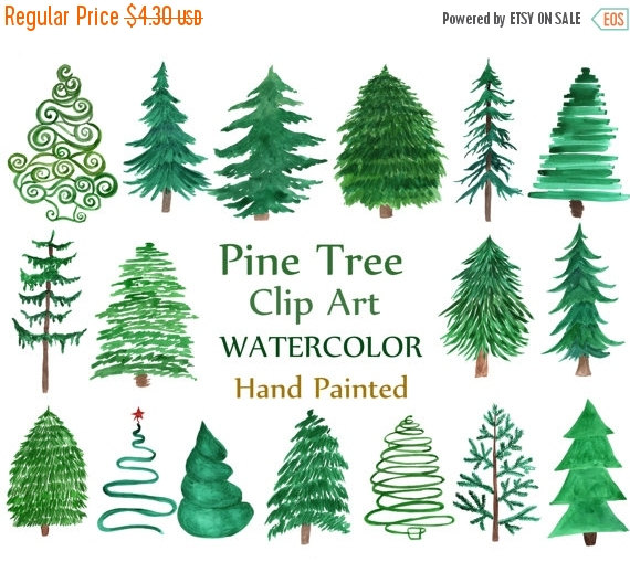 "SALE 50% Watercolor Pine Trees Clipart: ""CHRISTMAS TREE Clipart."