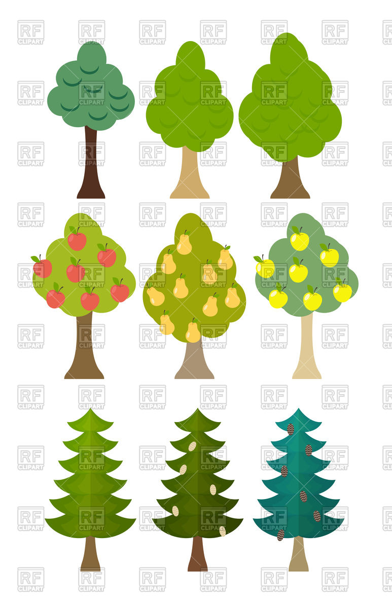 Set icon of fruit trees, conifers, forest trees Vector Image.